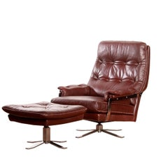 1960s, Leather and Chrome Swivel Lounge Chair and Ottoman by Arne Norell