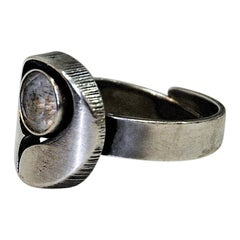 Eagle Eye Sterling Silverring with Diamondcut Stone 1948, Sweden