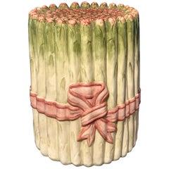 Italian Majolica Asparagus Motif Garden Seat