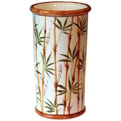 Vintage Italian Pottery Umbrella Stand Bamboo Large Floor Vase Raymor