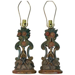 Pair of Late 18th Century Carved Wood Polychrome Venetian Candlesticks as Lamps