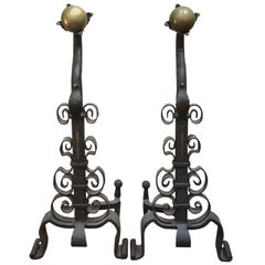 Pair of 19th Century Iron and Brass Andirons