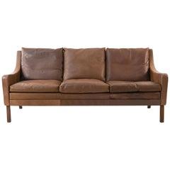 Danish Midcentury Børge Mogensen Style Leather Sofa