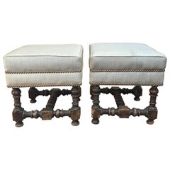 Pair of 18th Century Jacobean Walnut Stools