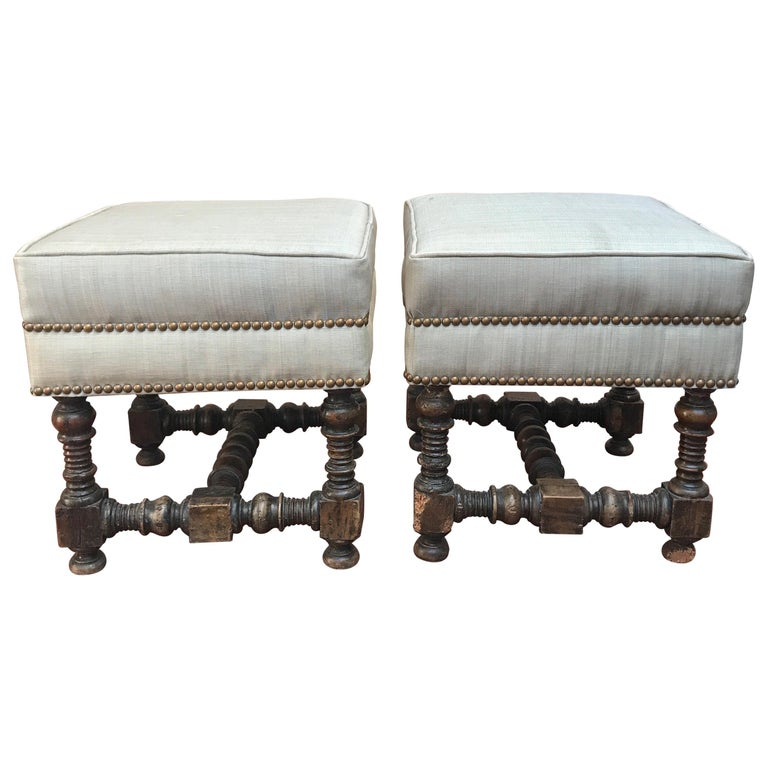 Pair of 18th Century Jacobean Walnut Stools