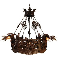 20th Century Antique French Wrought Iron Chandelier with Leafs and Flowers