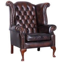 Vintage Brown Chesterfield Leather Brown Armchair Buttoned Clubchair