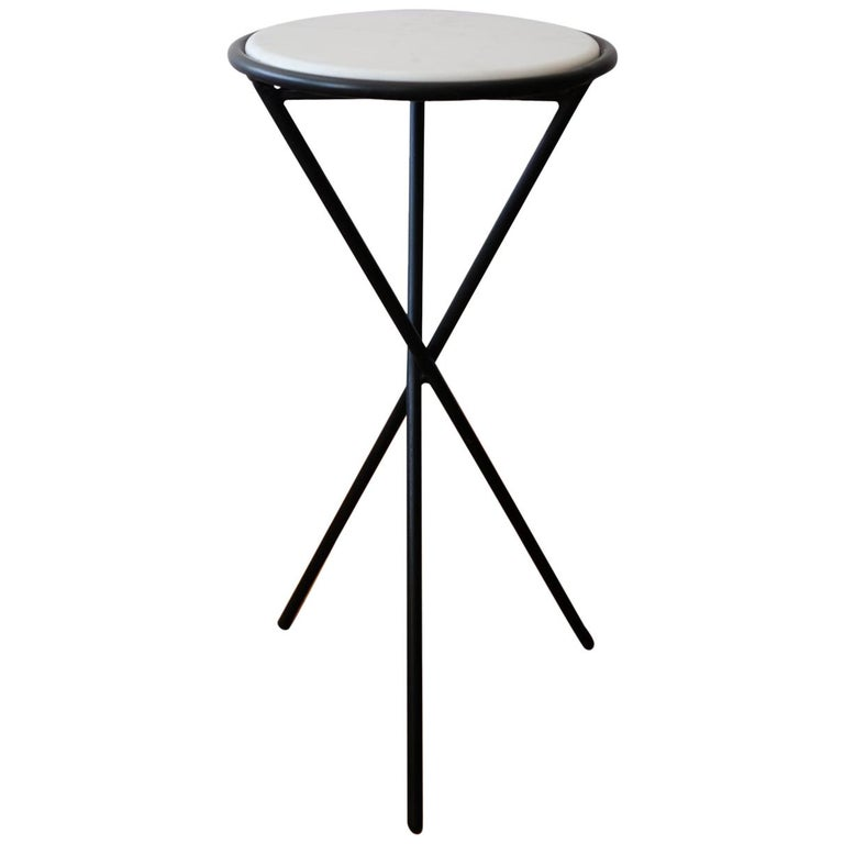 Iron Tripod Table with Marble Top, 1950s