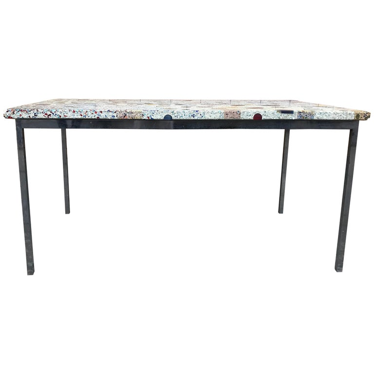 Florence Knoll Dining with Amazing Custom Inlaid Terrazzo Top