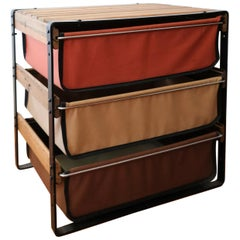 California Modern Canvas Wood and Iron Low Storage Unit with Canvas Drawers