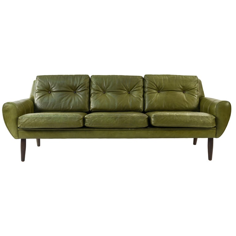 Svend Skipper Danish Midcentury Leather Sofa For