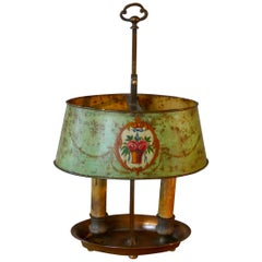 French Painted Toleware and Brass Twin Table Lamp