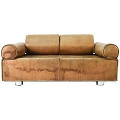 Marzio Cecchi Italian Brown Buffalo Leather Sofa, 1970