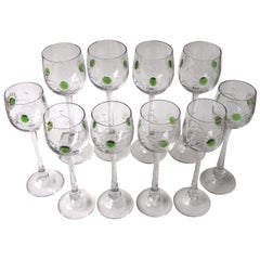 Set of Ten Art Nouveau Jean Beck Crystal Hot Appied Hock Glasses