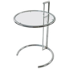 Eileen Gray Model E1027 Chrome and Glass Side Table