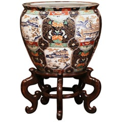 Large Porcelain Chinese Planter on Wood Stand with Avian and Botanical Motifs