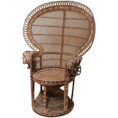 "20th Century Rattan/Wicker Peacock ""Emanuelle"" Chair"