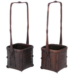 Taisho Period Japanese Ikebana Baskets in Bronze