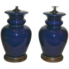 Pair of Blue Table Lamps