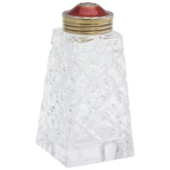 Art Deco Sterling Silver-Gilt and Red Guilloche Enamel-Mounted Sugar Shaker
