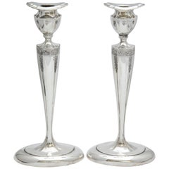 Art Nouveau Tall Pair of Sterling Silver Candlesticks