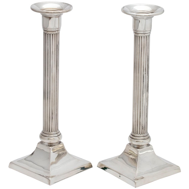 Neoclassical Pair of Sterling Silver Column-Form Candlesticks on Square Bases