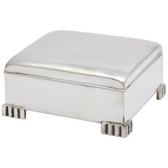 Art Deco Sterling Silver Footed Table Box with Hinged Lid