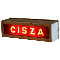 "1950s Illuminated Theater Sign ""CISZA"", Meaning ""Silence"""