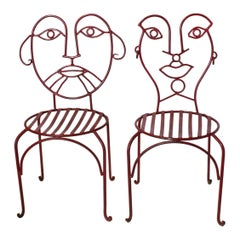 Midcentury Accent Wrought Iron Chairs