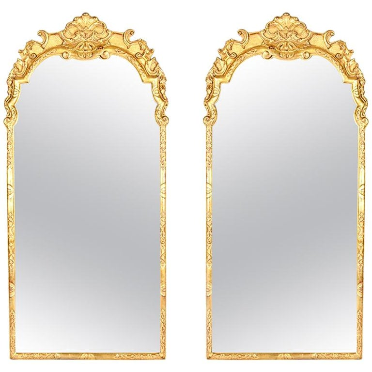Vintage Pair of Gilded Wood Framed Hanging Wall Mirrors