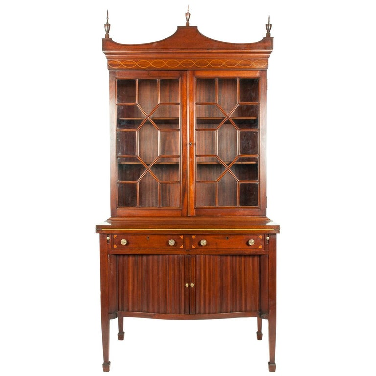 Charak Hand-Carved Mahogany Wood Display Cabinet