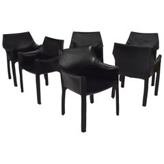 Set of Six Mario Bellini Black Leather Cab Armchairs for Cassina