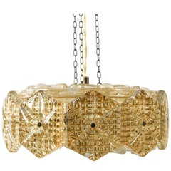 Crystal and Brass Pendant Chandelier by Carl Fagerlund for Orrefors, 1960s