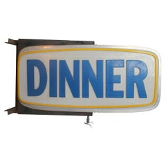 1950s Double-Sided Light Up Sign DINNER/BREAKFAST