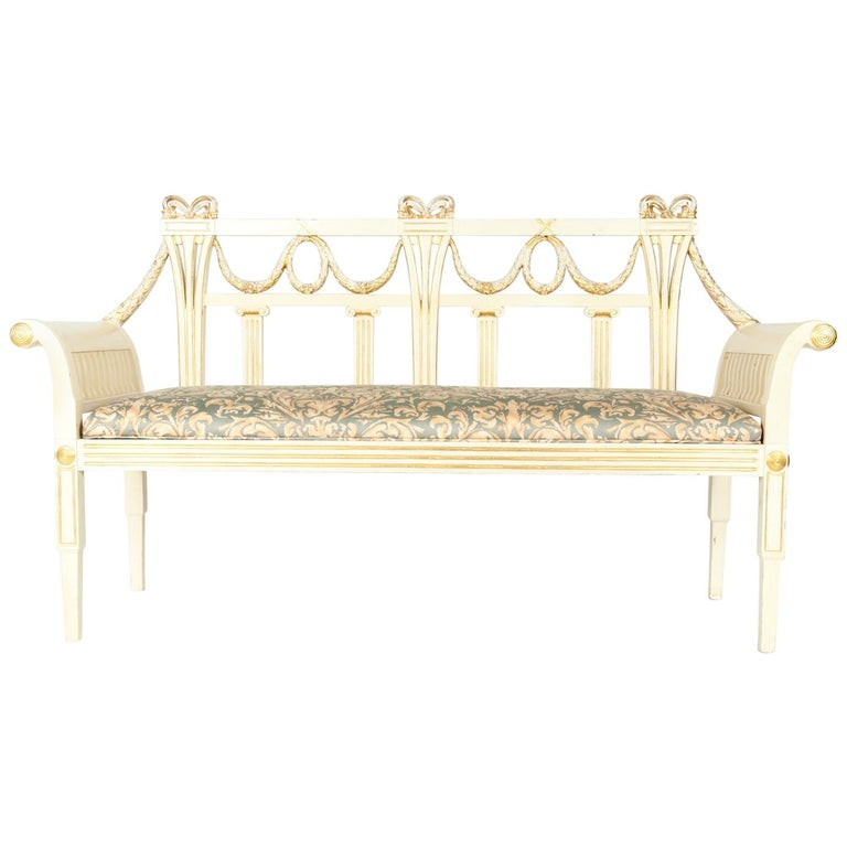 Vintage Neoclassical Style French Wood Settee / Bench