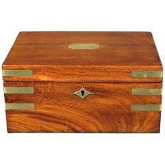 A Fine & Rare Canadian 19th Century Brass Bound Mahogany Writing Box, Dated 1840