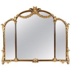 Antique Wood Framed Gilded Bevelled Hanging Mantel Mirror