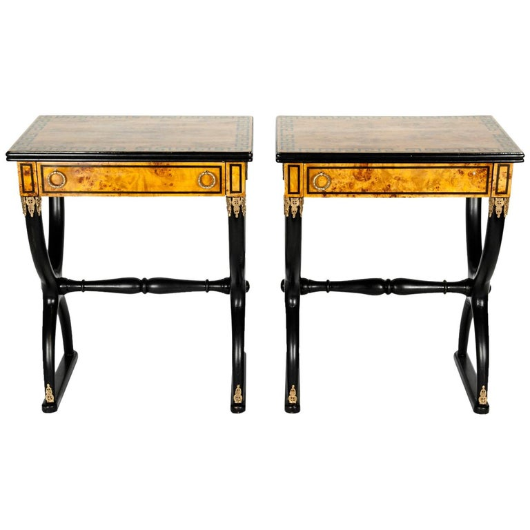 Early 19th Century Pair of Ebony Side or End Tables