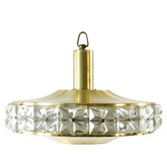 Midcentury Crystal and Brass Pendant Chandelier by Vitrika, Denmark, circa 1960