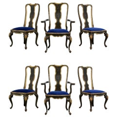 Hand Painted Portuguese's Set of Six Queen Anne Style Dining Chairs