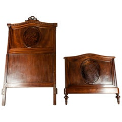 Matching Pair of French Burl Walnut Single Beds
