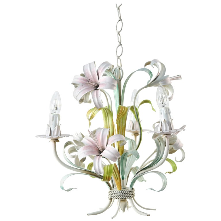 Italian Tole Painted Lily Flower Chandelier
