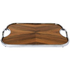English Rectangular Serving Tray of Wood and Chrome from the Art Deco Period