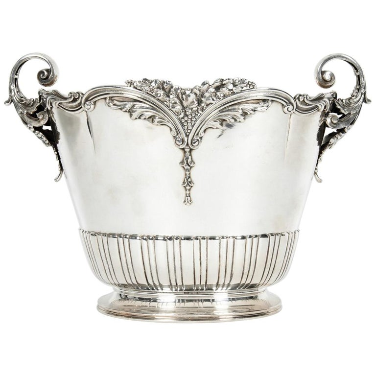 Antique Sterling Silver Two Handles Wine Cooler