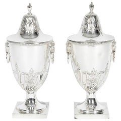 Old English Silver Plate Pair Covered Urns