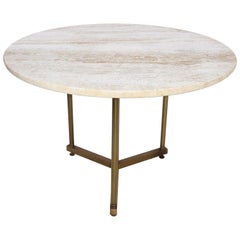 Brass and Travertine Side Table