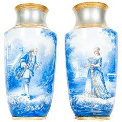 Antique Pair of English Porcelain Decorative Vases