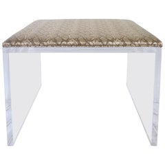 Contemporary Lucite Upholstered Bench & Table