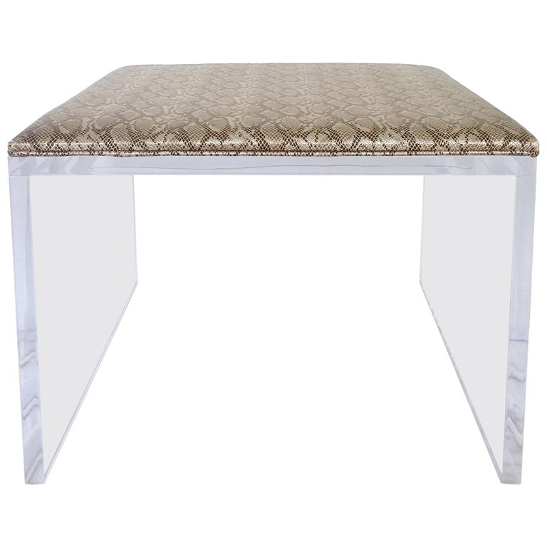 Contemporary Lucite Upholstered Bench & Table For Sale