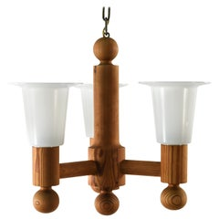 Pine and Acrylic Chandelier Attributed to Hans Agne Jakobsson